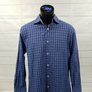 Tattersall 15.5 32/33 Blue Black Checked